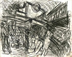 """Charing Cross Station 1"" by Leon Kossoff"